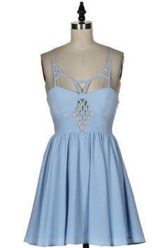 Romance Me Cutout Fit & Flare Dress - Light Blue