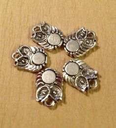6 Silver OWL charms for jewelry pendants #beads #bead #etsy @etsy #owl #charm
