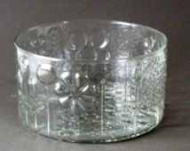 Lg Vintage IITTALA Glass Works FLORA Pattern 8in Salad BOWL Oiva Toikka Design Mouth Blown Art Glass Made In Finland