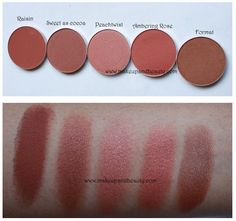 More dark skin friendly blushes (great for the Fall season) | MACs Raisin, Sweet as Cocoa, Peachtwist, Ambering Rose, and Format.