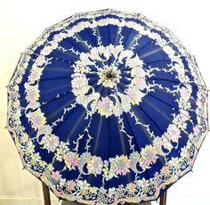 vintage floral umbrella - 1960s blue mod wood-handle umbrella