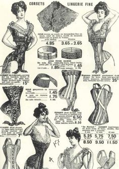 Belle Epoque ad for undergarments that show in detail the different garments