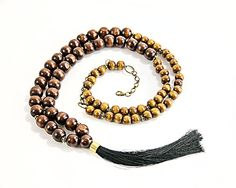 Dark wood long boho necklace Silk tassel long wood necklace Natural wood ethnic jewelry Organic wooden rustic jewelry