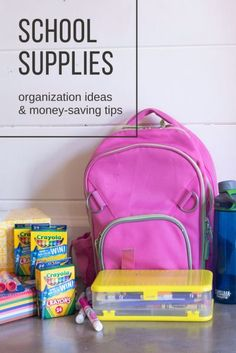 Creative solutions for how to organize school supplies at home and at school, including free printable school supply labels! Backpack Organization, School Supplies Organization, Diy School Supplies, Organizing School, Organization Ideas, Back To School Shopping, Going Back To School, Planners, School Supply Labels