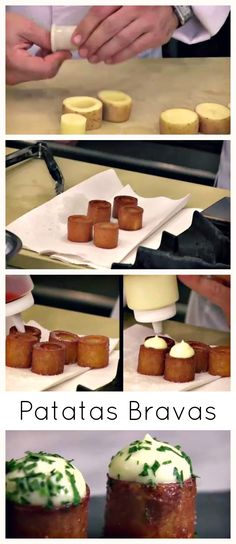 Vegetarian tapas - Patatas Bravas doesn't have to be basic, up the fancy factor with a recipe like this one. This is how I've eaten it at Arola in Barcelona, so sublime. Tapas Party, Snacks Für Party, Appetizers For Party, Paella Party, Tapas Menu, Spanish Appetizers, Tapas Recipes, Appetizer Recipes, Cooking Recipes