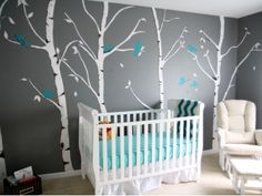 9 Baby Boy Nursery Themes ... I really like the birch tree theme.