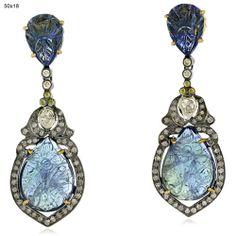 New Arrival !Tanzanite Diamond 18 k Gold Sterling Silver Fashion Dangle Earrings