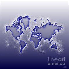 World Map Opala Square In Blue And White. world map art wall decor print. #elevencorners #mapopala