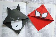 Tworzyć: Batman i Spider - Man - zakładki do książek Paper Bookmarks, Watercolor Bookmarks, Corner Bookmarks, Bookmarks Kids, Paper Crafts Origami, Origami Easy, Diy Paper, Oragami, Diy For Kids