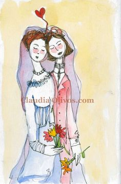 Lesbian Love-art celebrating same sex union. Perfect for wedding gift or bridal shower for your same sex friends.. $20.00, via Etsy.