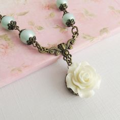Blue Flower Girl Necklace, Rustic Wedding Jewelry, Bridesmaid Pearl Necklaces, White Rose Jewelry, Bridal Party Gift, Rustic Wedding