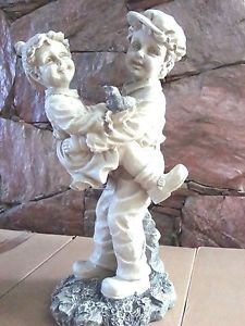 Garden Statue Boy Girl Playing Outdoors Yard Lawn Porch Outdoor Home Decor New | eBay