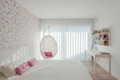 Bedroom:Modern Teenage Girl Bedroom Ideas Cool White Teenage Girl Bedroom With Modern Floral Wallpaper And White Desk Also Hanging Chair Teenage Bedroom Decorations, Teenage Girl Bedroom Designs, Girls Room Design, Teen Girl Rooms, Small Room Design, Teenage Girl Bedrooms, Teenage Room, Bedroom Themes, Bedroom Ideas
