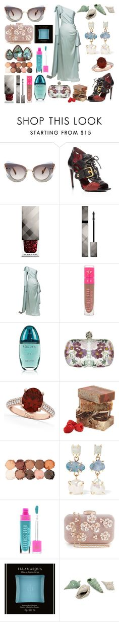 """Seaside"" by obscura ❤ liked on Polyvore featuring Miu Miu, Burberry, Yves Saint Laurent, Jeffree Star, Calvin Klein, Alexander McQueen, Allurez, NYX, Melissa Joy Manning and IMAX Corporation"