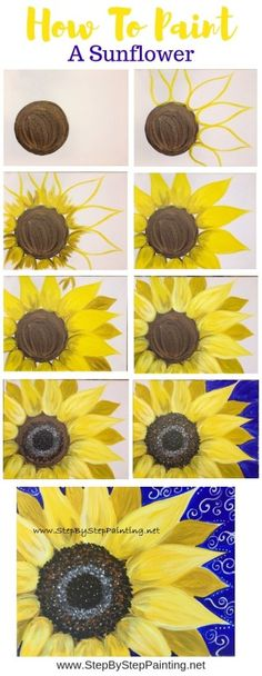 Drawings How To Paint A Sunflower - Step By Step Painting - Tutorial - Learn how to paint a sunflower with acrylics on canvas. Beginners guide to painting a large yellow sunflower on canvas. Instructions and video included. Cute Canvas Paintings, Easy Canvas Painting, Diy Canvas, Diy Painting, Painting & Drawing, Canvas Art, Acrylic Canvas, Beginner Painting, Easy Paintings