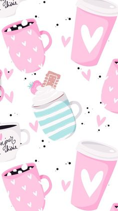 You can't go wrong with coffee! Kawaii Wallpaper, Pastel Wallpaper, Love Wallpaper, Screen Wallpaper, Mobile Wallpaper, Cute Backgrounds, Wallpaper Backgrounds, Cellphone Wallpaper, Iphone Wallpaper