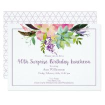 Watercolor Boho Pink and Purple Floral Birthday Napkins | Zazzle.com Surprise Birthday Invitations, Pink Invitations, Watercolor Invitations, Floral Invitation, Happy 90th Birthday, Floral Flowers, Watercolor Flowers, Flower Patterns, Boho