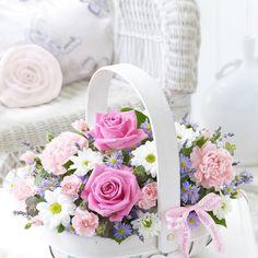 beautiful basket of fresh flowers