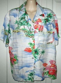 Liz Claiborne Lizsport Hawaiian Aloha Women's Short Sleeve Shirt Blouse Top M/L #LizClaiborne #BlouseTopShirt #Casual