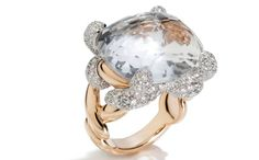 Tango ring in rose gold and rhodium-plated white gold with white topaz and diamonds, £15,300, Pomellato