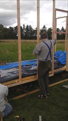 Anselm shows how the outside walls are attached to the base of the and explain how windows etc should be placed into position first. No 8, Shepherds Hut, Douglas Fir, Outdoor Furniture, Outdoor Decor, Walls, Construction, Windows, Base