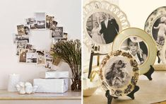 A lovely way to display photos and beautiful china plates