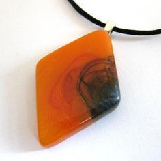 Fused Glass Necklace Orangetown by mysassyglass=love it!!