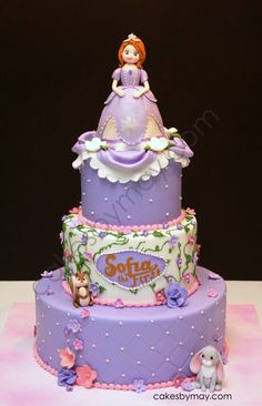 Sofia the First - love this cake, but I'd use a doll as the topper and only have the bottom 2 levels :)