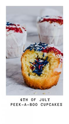 4th of July peek-a-boo cupcakes - Anne Travel Foodie Nut Free, Dairy Free, How To Make Frosting, Blue Food, Vanilla Cupcakes, 4th Of July Party, Recipe For 4, Peek A Boos, Foodie Travel