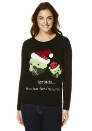 F&F Sequin Embellished Sprout Christmas Jumper