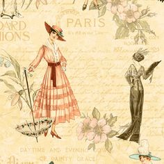 A Ladies' Diary - Fashion Plates Fabric by Graphic 45 for Wilmington Prints 85546 147W Cream - http://www.etsy.com/au/listing/152557748/a-ladies-diary-fashion-plates-fabric-by?ref=shop_home_active_19