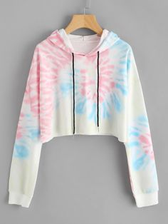 SheIn offers Hooded Water Color Drawstring Sweatshirt & more to fit your fashionable needs. Girls Fashion Clothes, Teen Fashion Outfits, Mode Outfits, Cute Lazy Outfits, Crop Top Outfits, Stylish Hoodies, Vetement Fashion, Tie Dye Outfits, Fashion Mode