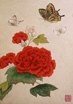 Korean Art, Asian Art, Art Floral, Oriental Flowers, Korean Painting, Butterfly Art, Butterflies, Art Pictures, Photos