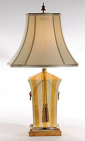 High Chelsea House Yellow Striped Metal Tole Caddy Tradtional Table Lamp