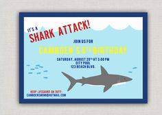 Shark Birthday Party Invitation by announcingyou on Etsy, $15.00