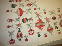 Vintage Christmas Simtex Tablecloth Shiny Brite