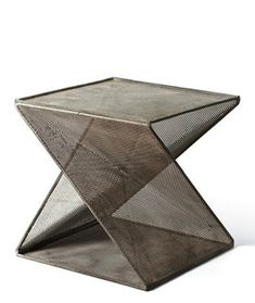 Sculptural Perforated Metal End Table