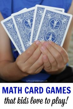 Simple math card games that kids love to play! Perfect for kindergarten and first grade kids to play during math centres! Math Card Games, Card Games For Kids, Math For Kids, Fun Math, Simple Games For Kids, Math Help, Math Resources, Math Activities, Math Sites