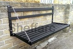 Idea for table > 2 Seater Space Saving - Wall Mounted Foldable Metal Garden Seat / Bench Welded Furniture, Folding Furniture, Iron Furniture, Steel Furniture, Home Decor Furniture, Garden Furniture, Furniture Design, Outdoor Furniture, Outdoor Decor