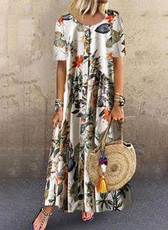 Cotton Blends General Orange Vacation Dresses Casual Round Neckline Spring Maxi Summer A-line Dress Floral S M Short Sleeve L XL XXL Buttons Dress Affordable Dresses, Elegant Dresses, Casual Dresses, Maxi Robes, Shift Dresses, Womens Fashion Online, Buy Dress, Women's Fashion Dresses, Dress Collection