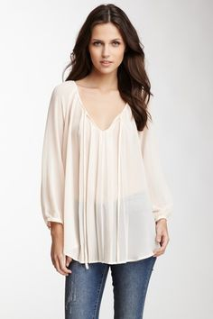 Pleated Peasant Blouse by Pleione on @HauteLook