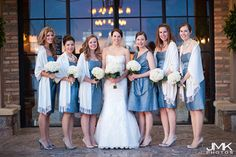 Winter Wedding, Blue bridesmaids dresses ©JMK Photos, www.jmk-photos.com