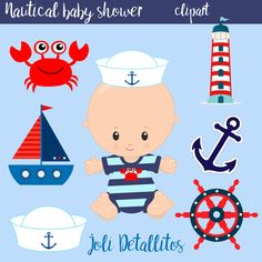 Your place to buy and sell all things handmade Distintivos Baby Shower, Baby Shower Clipart, Boy Baby Shower Themes, Baby Shower Printables, Baby Showers, Baby Shower Marinero, Baby Snoopy, Sailor Theme, Baby Shower Cupcake Toppers