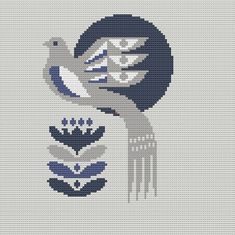 Danish Bird Cross Stitch Pattern PDF Pillow by WallflowerCushions Cross Stitch Pillow, Cross Stitch Bird, Simple Cross Stitch, Cross Stitch Animals, Modern Cross Stitch, Cross Stitch Designs, Cross Stitching, Cross Stitch Embroidery, Embroidery Patterns