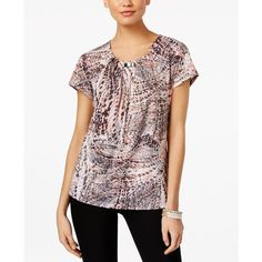 Ny Collection Printed Hardware Blouse ($15) ❤ liked on Polyvore featuring tops, blouses, smudge geo print, ny collection, ny collection tops, geometric top, geometric blouse and geometric print blouse
