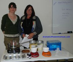 Kaley and Nancy getting ready to make body butter.  www.AromaticWisdomInstitute.com  #aromatherapy #certification
