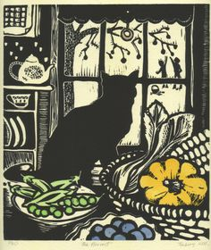 """""""In Scottish folklore a strange black cat's arrival to the home signifies prosperity and good luck. It is believed that a woman who owns a black cat will have many suitors. Image by contemporary printmaker Helen Timbury Linocut Prints, Art Prints, Block Prints, Black Cat Art, Black Cats, White Kittens, Wood Engraving, Art Plastique, Woodblock Print"""