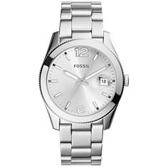 Women's Fossil Perfect Boyfriend Bracelet Watch, 39mm (337.130 COP) ❤ liked on Polyvore featuring jewelry, watches, silver, fossil wrist watch, silver jewellery, bezel jewelry, fossil watches and silver watches