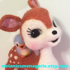 Felted Deer and Bluebird Friend / Soft Sculpture / Poseable by MelaniesMenagerie on Etsy