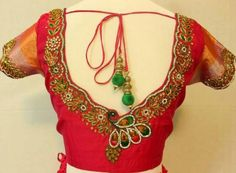 Looking for blouse back neck designs with stone work? Here are pretty patterns to consider to get the most flattering stone work on your blouse. Saree Jacket Designs, Sari Blouse Designs, Choli Designs, Designer Blouse Patterns, Blouse Back Neck Designs, Sleeves Designs For Dresses, Stylish Blouse Design, Sexy Blouse, Work Blouse